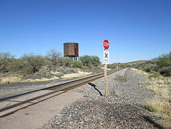 The railroad crossing and water tower in Pantano.