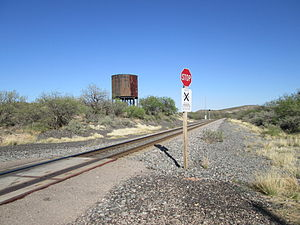 Pantano, Arizona - The railroad crossing and water tower in Pantano.