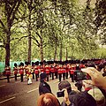 Parade of marching bands next to Bucks Palace.jpg