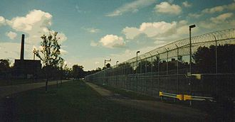 Gowanda Correctional Facility - Partial View of Gowanda Correctional Facility with Power Plant in Background at Left, September 1996