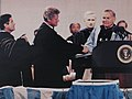 Paul Hardin III confers an honorary degree upon President Bill Clinton, 1993.jpg