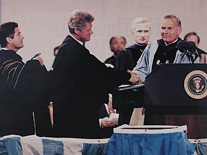 Paul Hardin III - Chancellor Paul Hardin of the University of North Carolina at Chapel Hill confers an honorary degree upon President Bill Clinton at University Day, 1993