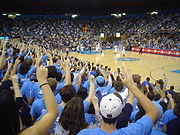 Mens Basketball game at Pauley Pavilion on 1/8/05 when UCLA came from 22 down to upset Washington.