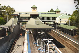 Pennant Hills, New South Wales - Pennant Hills train station on 10 December 2015, showing construction of the third track as part of the Northern Sydney Freight Corridor.