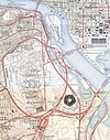 100px pentagon road network map 1945