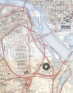 The Pentagon - 1945 map of the Pentagon road network, including present-day State Route 27 and part of the Shirley Highway, as well as the Main Navy and Munitions Buildings near the Lincoln Memorial.
