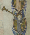 Peterborough Psalter trumpet or shawm page 154.png