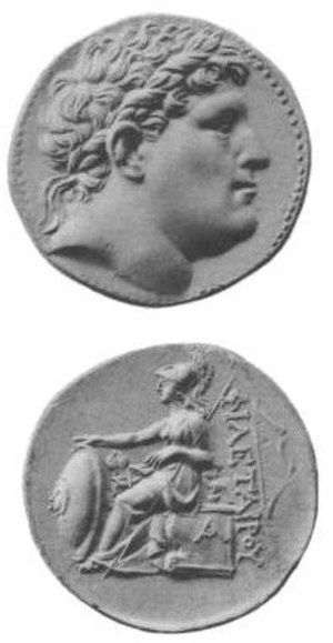 Philetaerus - Coin, depicting the head of Philetaerus on the obverse and seated Athena, Greek goddess of war and wisdom, on the reverse, struck during the reign of Eumenes I (263 BC–241 BC)