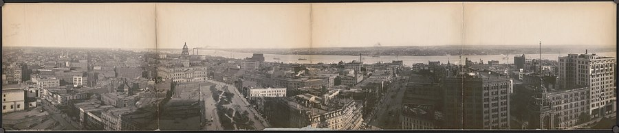 Photograph of 1905 shows buildings including the Wayne County Courthouse (Wayne County Building) and streets along the shore of the Detroit River in Detroit, Michigan.jpg