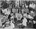 """Photograph of President Truman holding a press conference on the lawn of the """"Little White House,"""" his vacation... - NARA - 199048.tif"""