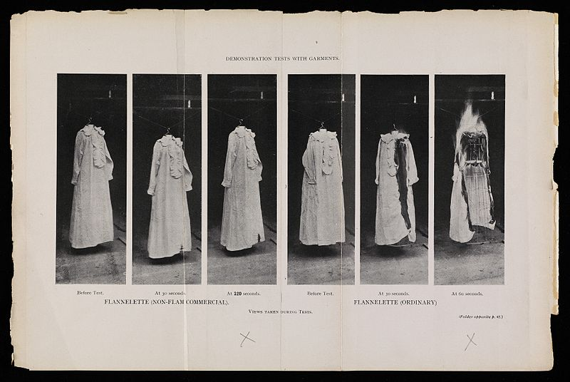 File:Photographs of flannette garments fire tests, 1910 Wellcome L0075291.jpg