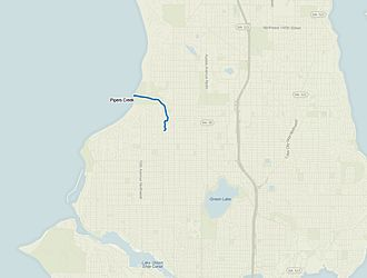 Pipers Creek (Seattle) - Map of Pipers Creek in relation to north Seattle