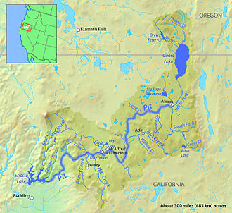 Pit River Tribe - Map of the Pit River course and watershed in northeastern California. The Pit is a tributary of the Sacramento River