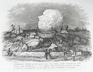 (Pitts Head): Singular rock, by the road side, ten miles from Carnarvon and three from Beddgelert. Its is called Pitt's Head because it bears a sportive resemblance to the head of that celebrated statesman
