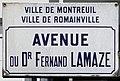 Plaque Avenue Docteur Fernand Lamaze - Romainville (FR93) - 2021-04-24 - 1.jpg