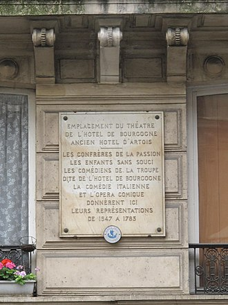 Hôtel de Bourgogne (theatre) - Plaque near the location of the former theatre of the Hôtel de Bourgogne