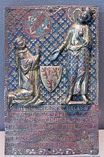 Placa tumular representando o cavaleiro Guy de Meyos ajoelhado perante São Luís. Esmalte em relevo sobre cobre dourado, Limoges, França, 1307