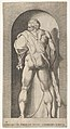 Plate 15- Hercules standing in a niche, wearing a lion skin and holding a club, viewed from behind, with his head turned to the left, from a series of mythological gods and goddesses MET DP832195.jpg