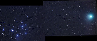 Comet Machholz - Comet Machholz appears to pass near the Pleiades cluster in early 2005.