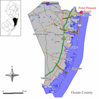 Map of Point Pleasant Beach in Ocean County. Inset: Location of Ocean County highlighted in the State of New Jersey.