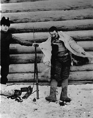 North Russia Intervention - A Bolshevik soldier shot dead by an American guard, 8 January 1919.