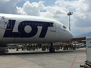 Humanitarian response to the 2015 Nepal earthquake - Polish rescue team at Kathmandu airport apron