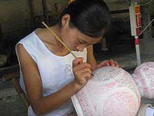 A porcelain workshop in Jingdezhen city, Jiangxi Province.