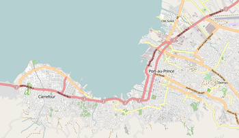 Map of Port-Au-Prince and Carrefour in Haiti
