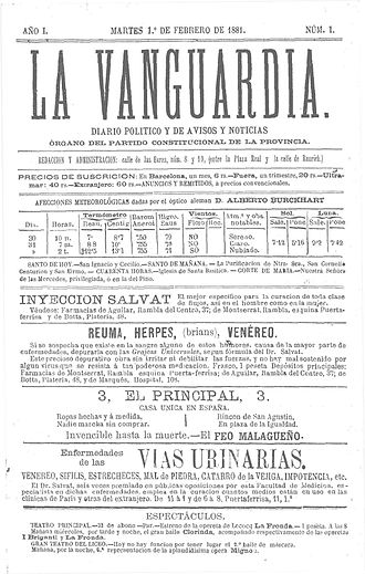 La Vanguardia - First issue of La Vanguardia, 1881