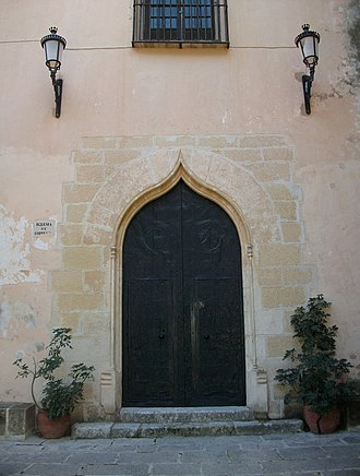Vall d'Albaida - Door of the basilica of the Monastery of the Corpus Christi in Lluxtent