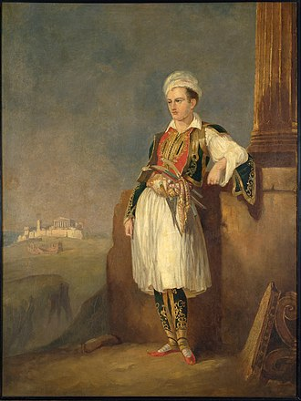 Greek love - Byron in Greek nationalist costume (c. 1830) with the Acropolis of Athens in the background