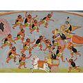 Pradyumna and Sri Krishna Battles Deamnon Nikumbha.jpg