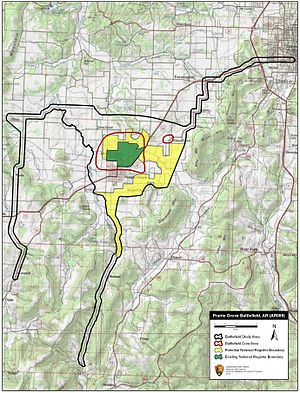 Battle of Prairie Grove - Map of Prairie Grove Battlefield core and study areas by the American Battlefield Protection Program.