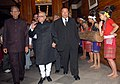 """Pranab Mukherjee, the Governor of Meghalaya, Shri B.L. Joshi and the Meghalaya Chief Minister, Shri D. D. Lapang arrive at the seminar on """"Look East Policy Geography as an opportunity"""" in Shillong, Meghalaya on June 16, 2007.jpg"""