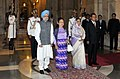 Pratibha Devisingh Patil and the Prime Minister, Dr. Manmohan Singh, at the ceremonial reception of the Chairman, State Peace and Development Council, Myanmar, Sr. Gen. Than Shwe, at Rashtrapati Bhavan, in New Delhi.jpg
