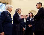 President Barack Obama chats with WASP pilots in the Oval Office.JPG