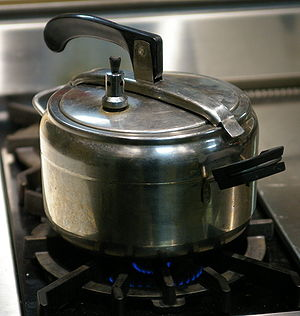 Superheated water - Pressure cookers produce superheated water, which cooks the food more rapidly than boiling water.