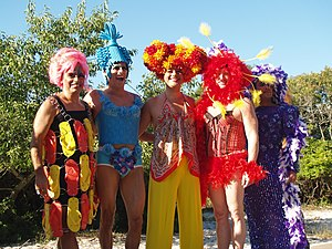 The Adventures of Priscilla, Queen of the Desert - A drag queen homage to the film's costumes on Fire Island Pines.