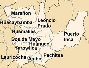 Huánuco Region - Map of the Huánuco region showing its provinces