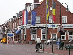 Putte, Netherlands - The border between Belgium and the Netherlands in Putte.