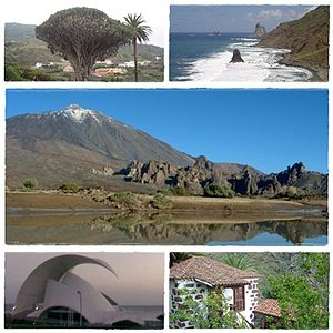 Tenerife - Clockwise from top: Dracaena draco, Roques de Anaga, Teide National Park, Traditional Canarian house and Auditorio de Tenerife.