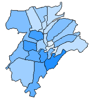 Quarters of Luxembourg City - Quarters shaded by population. Greater population is reflected by darker shades of blue.