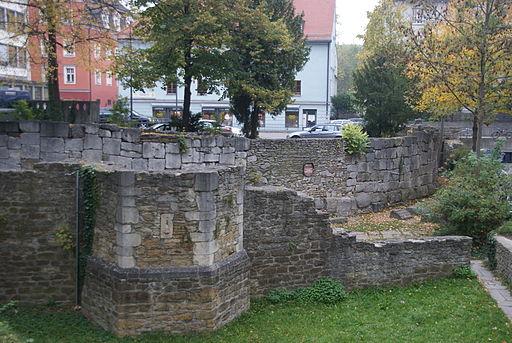 Südostecke des Legionslagers Castra Regina. Römische Befestigungsmauer (Regensburg)