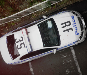 "Aerial roof markings - Redfern Local Area Command 35, displaying aerial markings on the roof and bonnet. ""RF"" denotes the Command, being Redfern while ""35"" denotes its use as a general duties sedan."