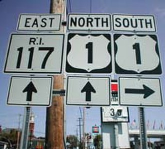 Numbered routes in Rhode Island - Route 117 at U.S. Route 1 in Warwick