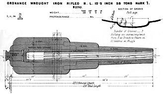 RML 12.5 inch 38 ton gun - Mark I gun barrel construction