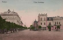 Ulica Lubelska (obecnie Żeromskiego na wysokości placu Sobornego, obecnie Konstytucji 3 Maja) ok. 1915