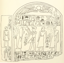 Drawing by Wallis Budge of a limestone stele depicting Rahotep making an offering to Osiris for two deceased, an officer and a priest.[2]