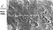 Ravi Vallis was possibly formed from extreme flooding. (Margaritifer Sinus quadrangle)