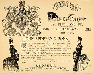 Redfern (couture) - An 1885 advertisement for the New York branch of the English tailoring house of Redfern.